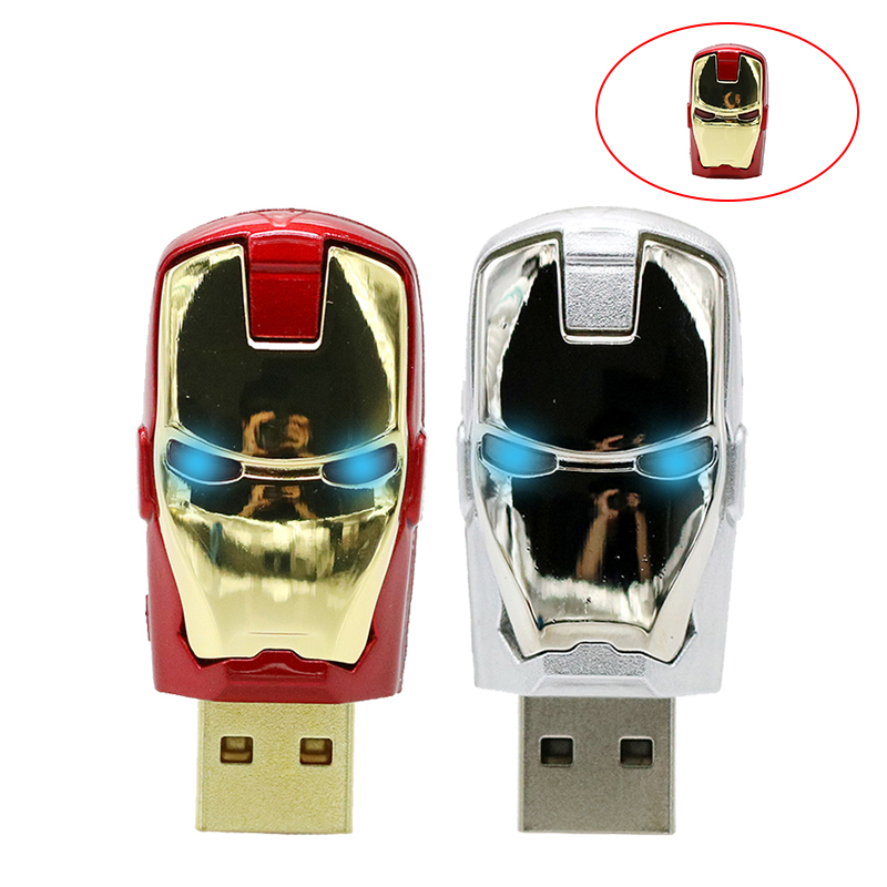 USB Iron Man Pen Drive Stick 128GB 64GB 32GB 16GB 8GB 4GB Pendrive 4 8 16 32 Gb USB2.0 Hero Ironman Usb U Disk Creative Gift
