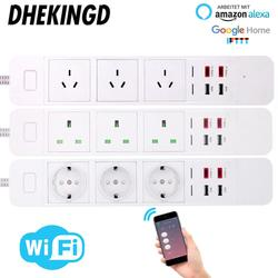 Wifi Smart Power Strip EU/UK/AU 2 USB 2 Type-c Charging PortTiming App Voice Control Work with Alexa Google Home Assistant