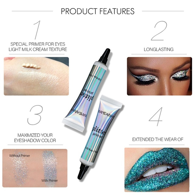 Glitter Primer Sequined Primer Eye Makeup Cream Waterproof Sequin Glitter Eyeshadow Glue Korean Cosmetics 4