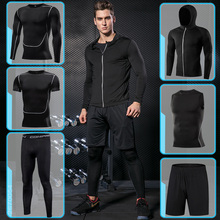 Running Sport Set For Mens Tight Clothing Gym Fitness Sportswear Suit Outdoor Workout Compression Tracksuit Clothes Black