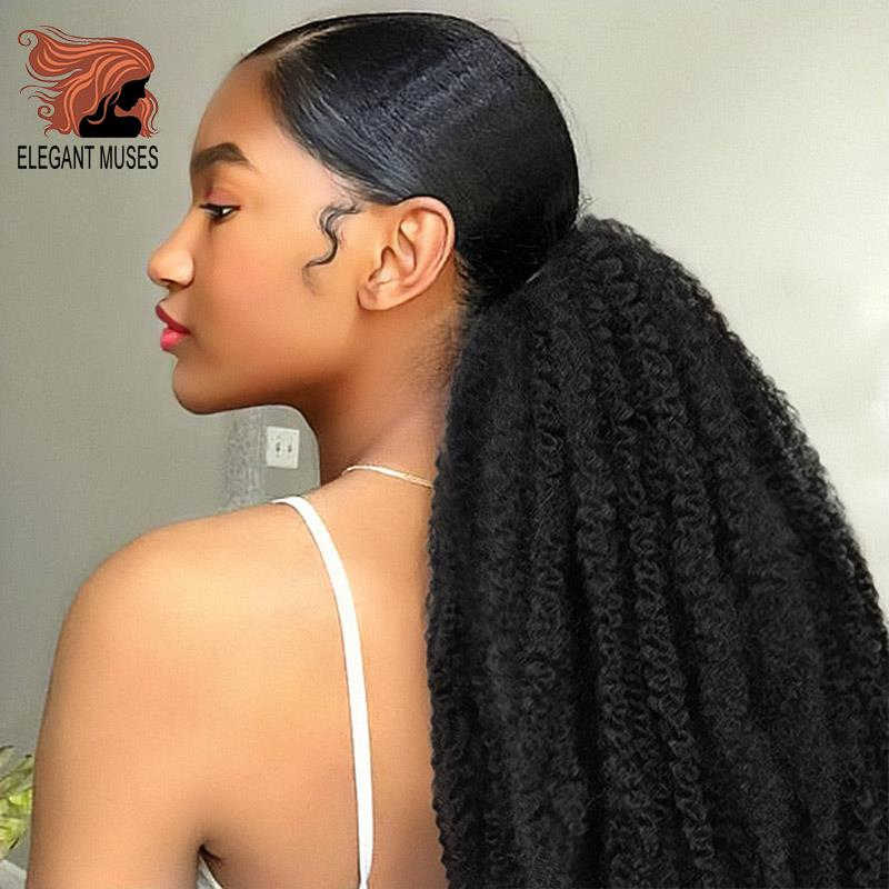 Afro Puff Marley Braids Hair Afro Kinky Straight Ponytail Organic Hairpiece Synthetic Crochet Braids Hair Extensions Bulk Frizzy