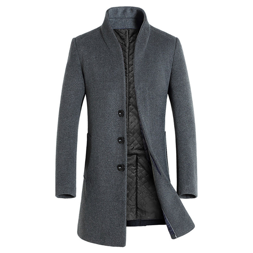 H57ba3a42c7594bc8bcc091c535df4984I Men's Jacket Warm Winter Trench Long Outwear Button Smart Overcoat Coats Long Sleeve Warm Spring Autumn Drop Shipping