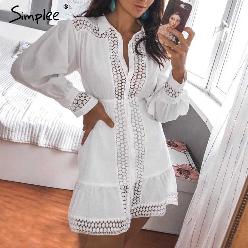 Simplee Elegant cotton lace women dress Long lantern sleeve ruffle A-line white short dress Hollow out party winter dresses 2019