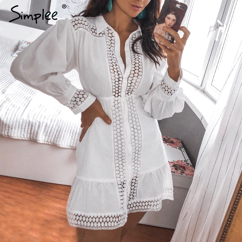 Simplee Elegant cotton lace women dress Long lantern sleeve ruffle A-line white short dress Hollow out party winter dresses 2019