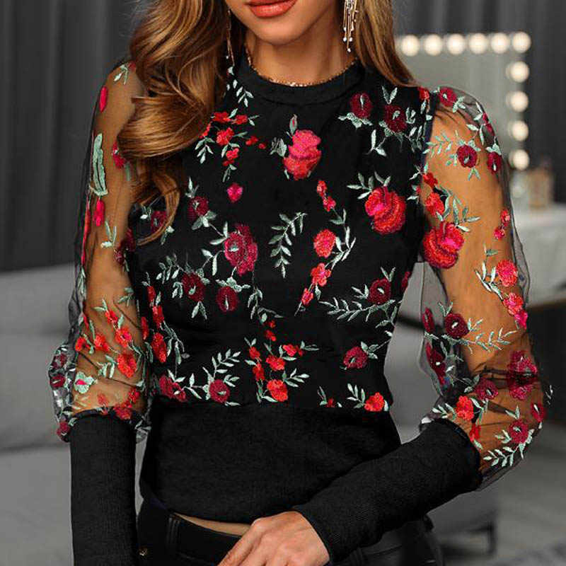 Blusa de manga de malla transparente de linterna bordada para mujer otoño Polka Dot estampado Blusa Jersey elegante ver a través de las tapas
