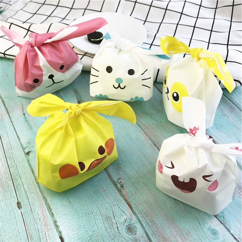 50pcs/lot Cute Rabbit Ear Cookie Bags Gift Bags For Candy Biscuits Snack Baking Package Wedding Favors Gifts Easter Decoration