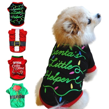 Christmas Pet Dog Clothes For Dog Cat T Shirts Pet Costume Cotton Clothes For Small Dogs Chihuahua Cool Puppy Clothing
