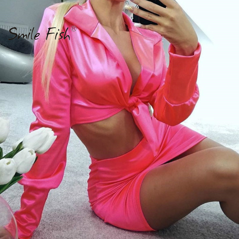 Autumn Sexy Women's Sets Crop Top Jacket Mini Skirts 2 Pieces Sets 2019 Club Lady Orange Outfits Turn-down Collar Outwear GV962