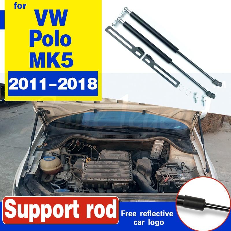 Para VW Polo 2011, 2014, 2017, 2018 MK5 Refit capucha de descarga de resorte de Gas resorte de elevación bares apoyo Hraulic Barra de coche-estilo