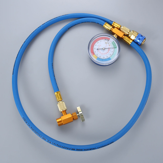 Car AC Air Conditioning R134A Conditioning Refrigerant Recharge Hose w/ Pressure Gauge Can Opener Quick Coupler