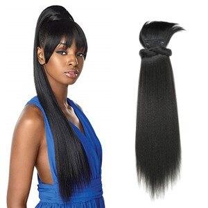 24 polegada kinky reta rabo de cavalo com franja grampo sintético na extensão do cabelo afro cordão rabo de cavalo afro-americano para mulher