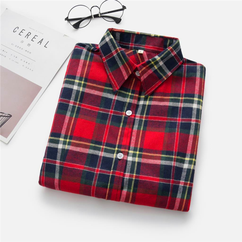 2020 New Women Blouses Brand New Excellent Quality Cotton 32style Plaid Shirt Women Casual Long Sleeve Shirt Tops Lady Clothes 22