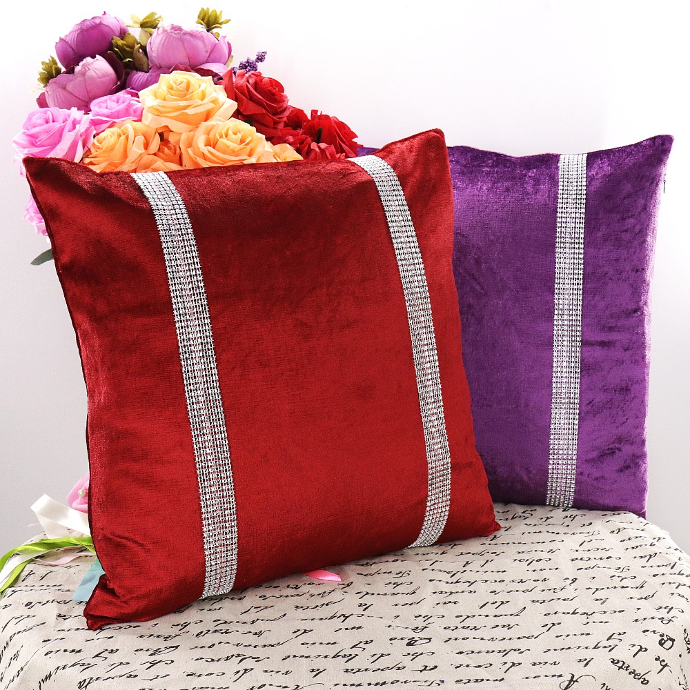 1pcs 45*45cm Velvet Diamond Cushion Cover Pillowcase Throw Pillow Case For Birthday Wedding Festival Party Supply Home Textile
