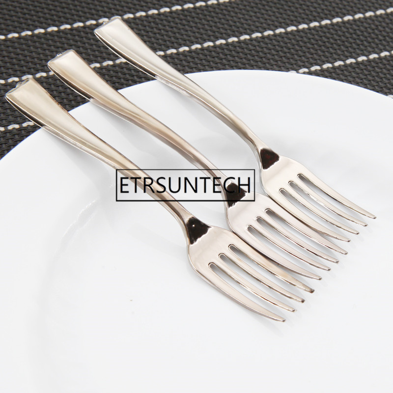 1000pcs 3 9inch Plastic Disposable Mini Silver Fork 10CM Cake Tasting Dessert Cake Fork For Wedding Party Suplies