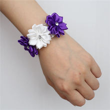 6piece/lot White Purple Silk Wrist Flower Wedding Bride Bridesmaid Corsage Bracelet Accessories SW0678-Z