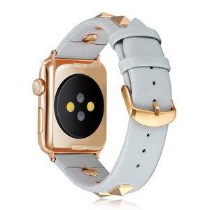 Image 2 - פאנק עור רצועת עבור אפל שעון להקת 44mm 40mm חגורת correas אמיתי עור צמיד iWatch 38mm 42mm סדרת 3 4 5 se 6 להקה