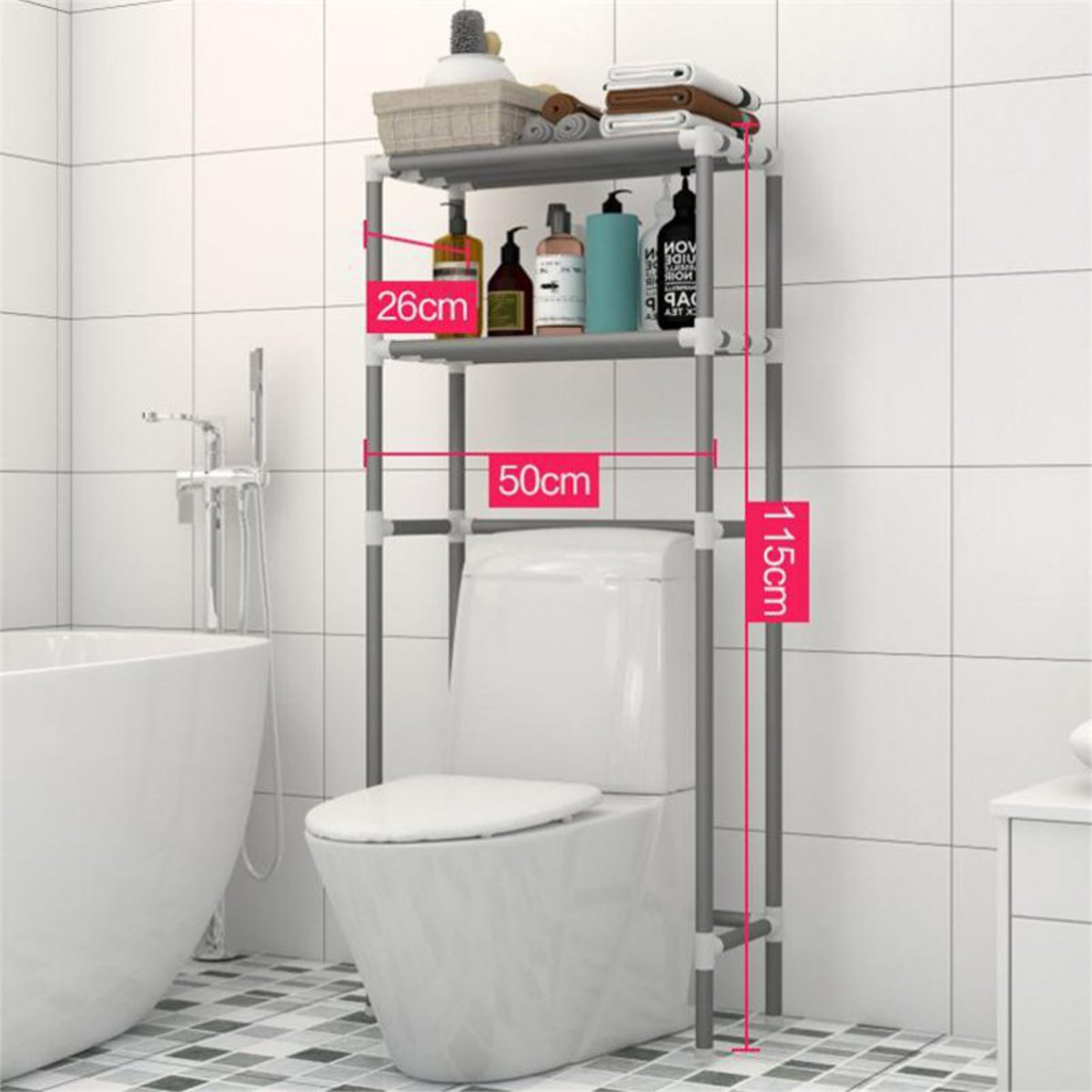 2 Tiers Over Toilet Storage Rack Holder Bathroom Space Saver Towel Shampoo Organizer Holder Bathroom Storage Shelves 50x26x115cm
