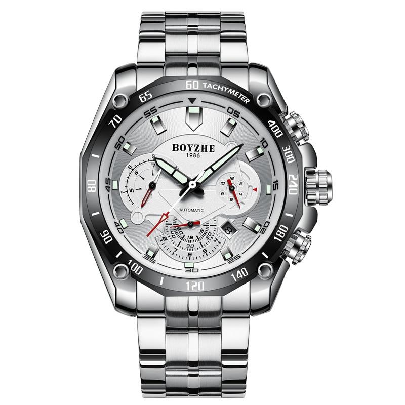 Automatic Mechanical Watch Men's Relogio Male Fashion Stainless Steel Watch Waterproof Luminous Luxury Clock Month Calendar Week