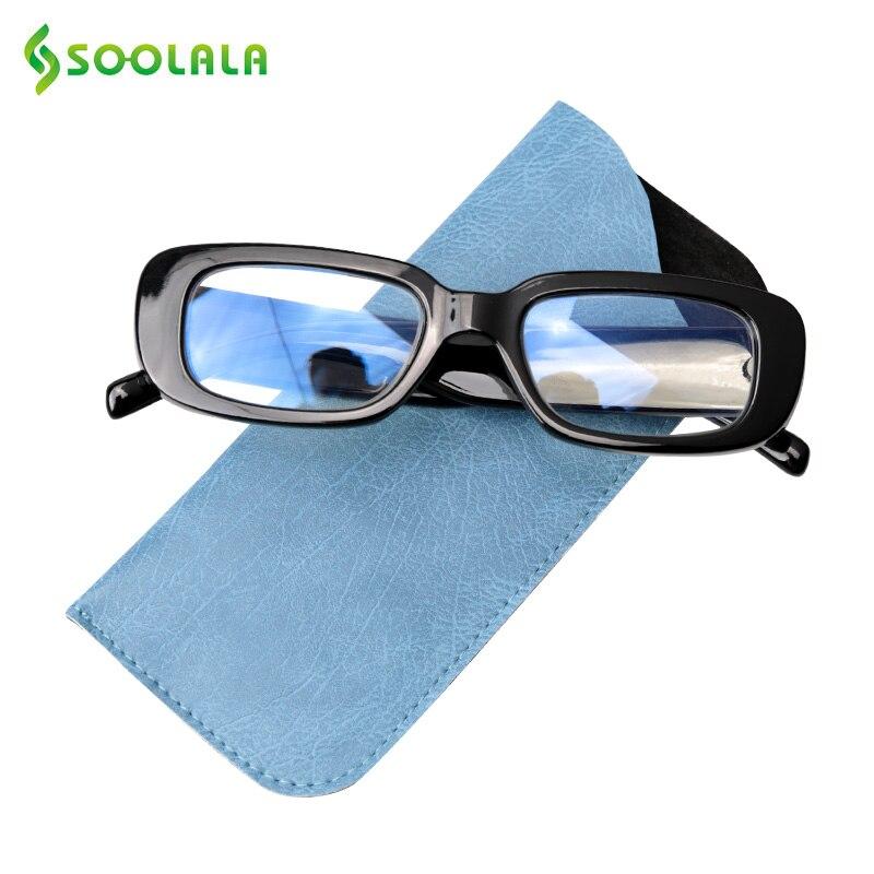 SOOLALA Anti Blue Light Blocking Reading Glasses Women Eyeglasses Frame Small Rectangle Gray Tea Lens Sunglasses Reading Glasses