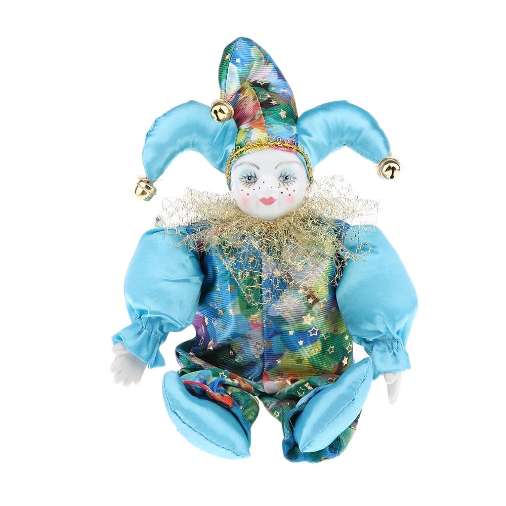 33cm Porzellan Harlekin Puppe Hängen Fuß Clown Puppe Dekoration Requisiten EIN