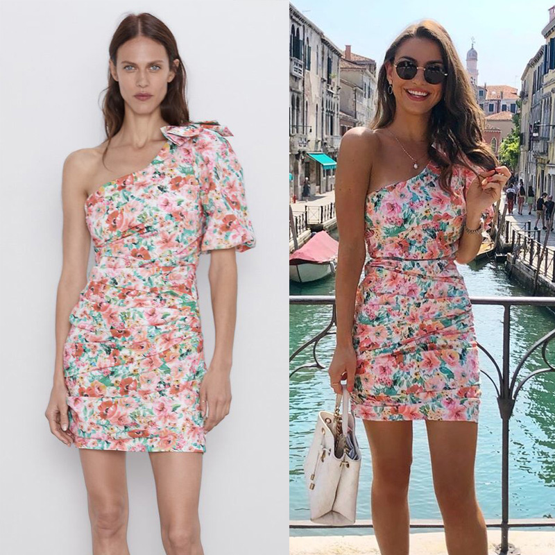 2020 Newly Fashion Boho Printing ZA Dress Woemn Summer Flower One Shoulder Mini Dress Female Vacation Party Clothes Wholesale image