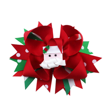5 inch Christmas Santa Multi layers Boutique Hair Bow Alligator Clips Hair Accessories