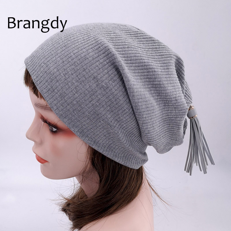 Autumn Winter Tassel Cotton   Beanies   Hats For Woman Ladies Soft Ribbed Cotton Slouch Hats Baggy Oversize   Skullies   Gorros Girls