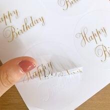 60 шт Круглый прозрачный дизайн с днем рождения печать наклейки