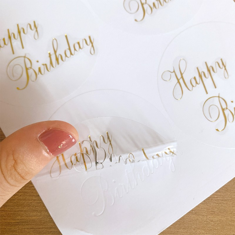 60pcs Round Transparent Design Happy Birthday Seal Stickers DIY Deco Gift Sticker waterproof Label big size for cake carton