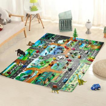 Play Mat 100x130cm Traffic Route Dinosaur World Pattern  Pad Carpet Room Decor Playmat Play orthopedic rug for children