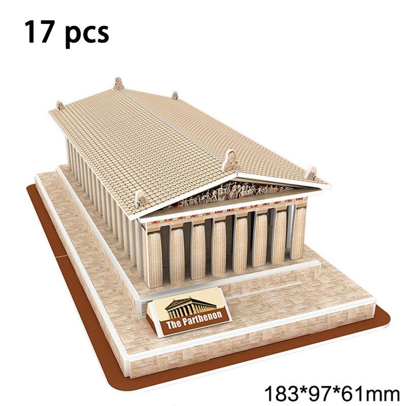 DIY Architecture 3D Cardboard Puzzle Toys Notre Dame de Paris Eiffel tower Vasily Cathedral World Famous Architectural Model Toy 5
