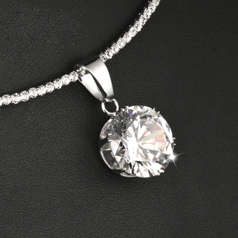 SINLEERY Trendy Round Cubic Zircon Pendant Choker Collar Necklace Silver Color Torques Chain Statement Jewelry Xl602 SSA