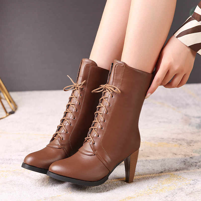 MoonMeek büyük boy 34-46 moda sonbahar kış çizmeler kadın yuvarlak ayak bayanlar balo yarım çizmeler splike lace up bayan çizmeler 2020