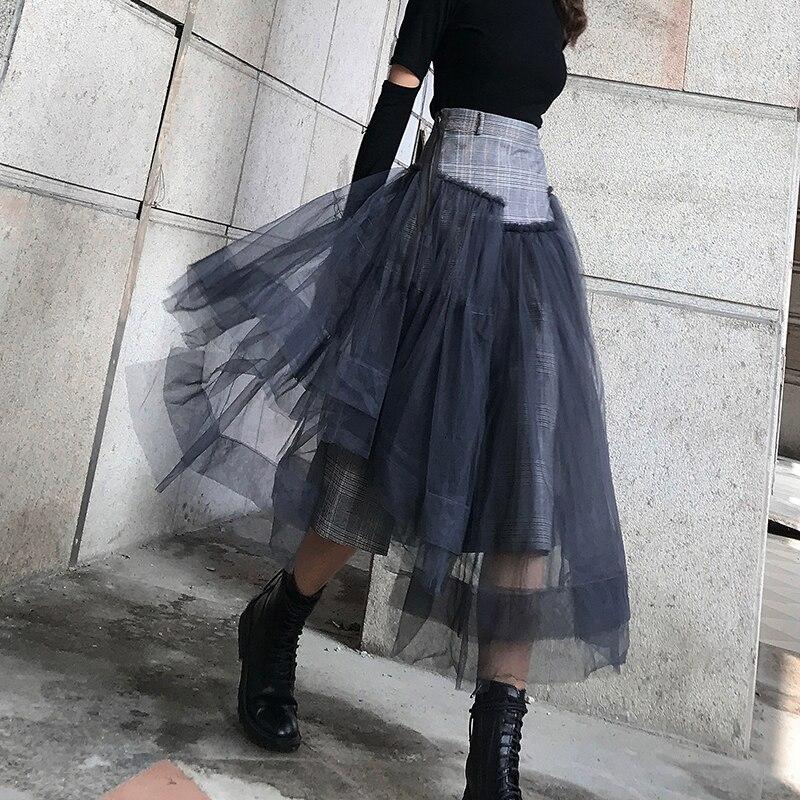 LANMREM 2020 Asymmetric High Waist Yarn A-line Skirt Woolen Stitching Multi-layer Mesh Over The Knee Long Skirt Female PC103