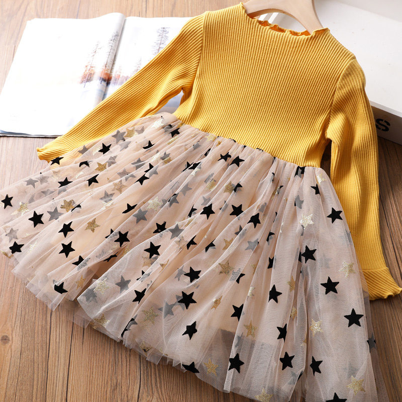Girls Winter Dress for Kids Long Sleeve Star Sequined Princess Dresses 3 6 8 Years Old Children Cotton Knitted Autumn Clothes 1