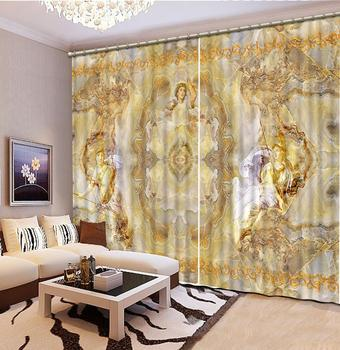 European Luxury Curtains Window Blackout 3D Curtains For Living Room Bedroom marble pattern Window Curtain