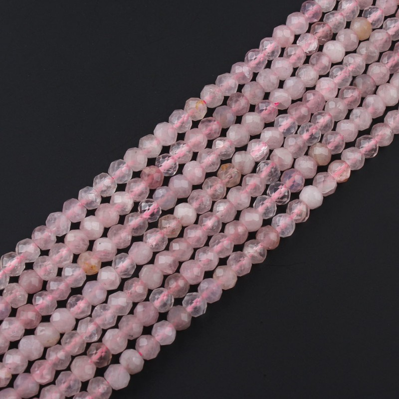 Natural Rose Quartz Rondelle Beads Faceted 2x4mm Round Loose Stone Beads For DIY Jewelry Making Charm Necklace Bracelets 15 Inch
