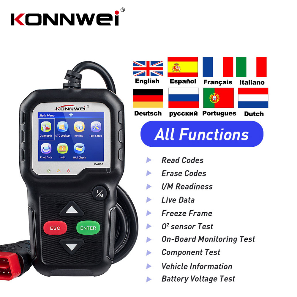 NEW KONNWEI KW680 obd OBD2 garage tooling Full OBD Function Diagnostic Tool OBDII Auto Diagnostic Scanner for car 8 languages