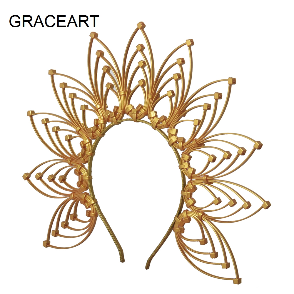 Embellished Customizable Gold leaf and Spike Halo Halo Crown Sunburst Crown