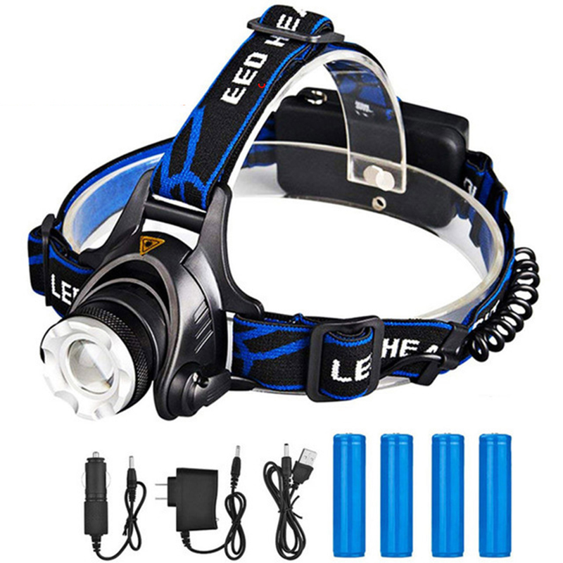 ZK20 Rechargeable Waterproof Headlamp Zoomable 3 Modes LED Headlight Head Lamp Work LED Helmet Head Light Torch Flashlight