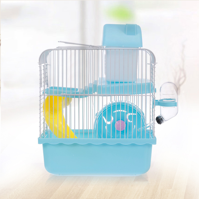 Hamster Cage Portable Carrier Two-Story Hamster Habitat with Hamster Wheel Water Dispenser for Hamster Mouse Small Pets 1
