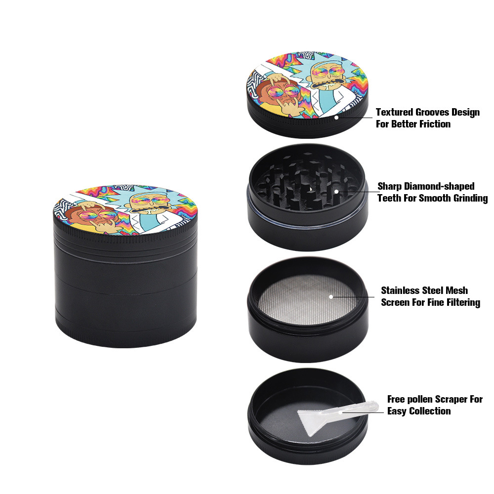 50MM Domed Sticker Rick and Morty Smoking grinder Zinc Alloy Metal Herb Grinder  4 Layers Tobacco Grinder Herb Crusher 2