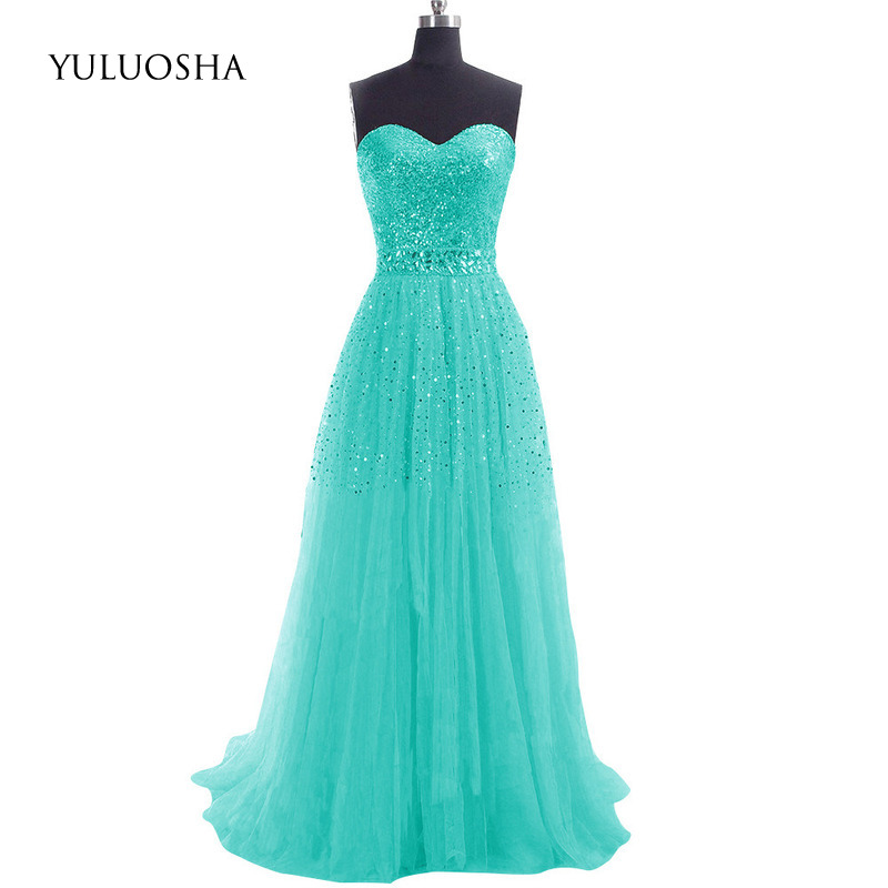 YULUOSHA Long Chiffon Bridesmaid Dresses Women Wedding Party Dress Sleeveless Strapless Sequined Vestidos De Fiesta De Noche