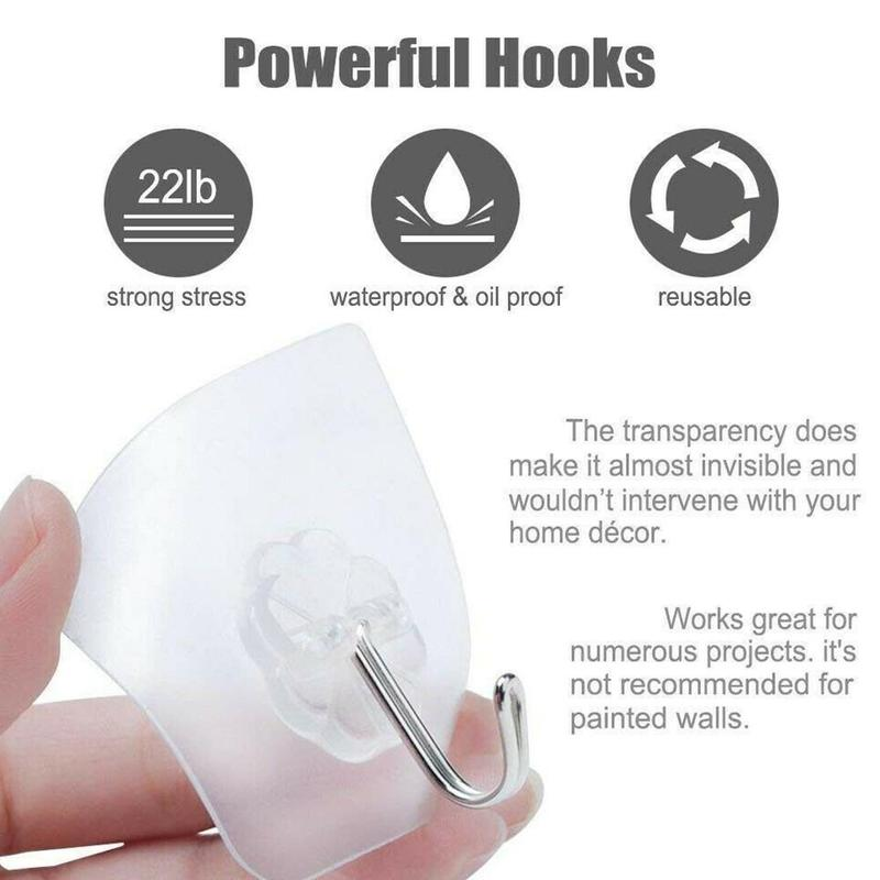10pcs  Strong Transparent Suction Cup Sucker Wall Hooks Hanger For Kitchen Bathroom 6*6cm 2019 Hot Sale Wall Hooks