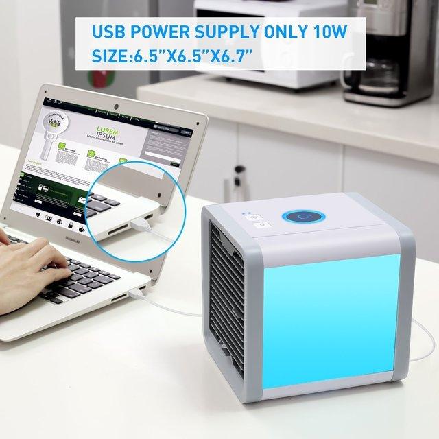 Condizionatore D'aria Portatile USB 7 Colori Luce Umidificatore Purificatore 6