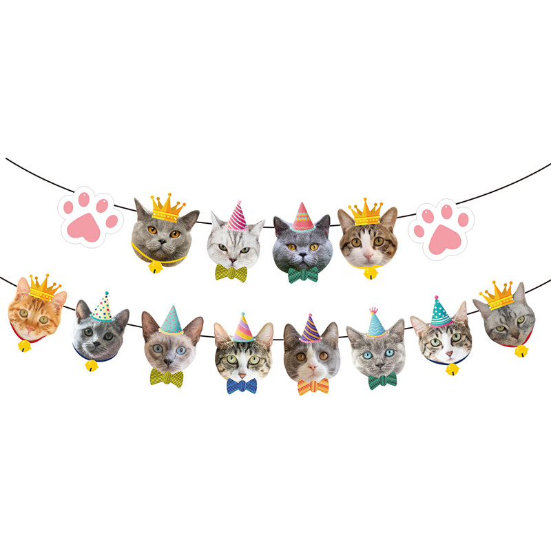 Для собак и котов вечерние флаг картона вечерние украшения Декор с кошкой баннер овсянка гирлянда баннер ПЭТ флажок на день рождения Подвес...