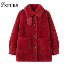 2019 Real/Genuine Composite Shearling Lamb Fur Coat Women Wool Fur Coat with Faux Suede Leather Liner women s faux suede shearling maxi walking coat with hooded