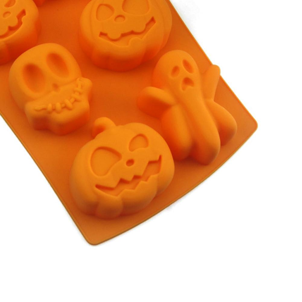Lot of 2 Halloween pumpkin silicone ice cube jello trays