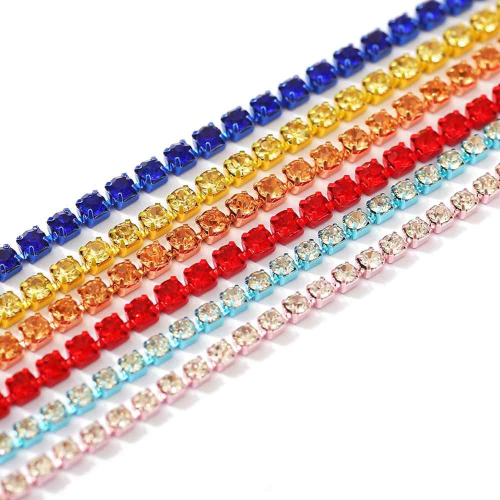 1 Yard SS6/SS8/SS12 Kleurrijke Strass Ketting Glas Rhinestones Trimmen Crystal Cup Chain Voor Diy Naaien Kleding accessoires