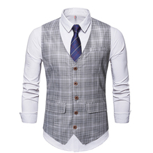 Men Vests New Autumn Plaid Pattern Business Gentleman Single Breasted Men's Casual Waistcoat